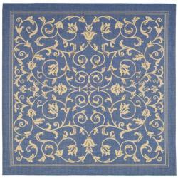 Safavieh Indoor/ Outdoor Resorts Blue/ Natural Rug (7'10 Square)