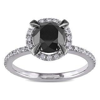 Miadora 10k White Gold 2ct TDW Black and White Diamond Halo Ring (G-H, I2-I3)