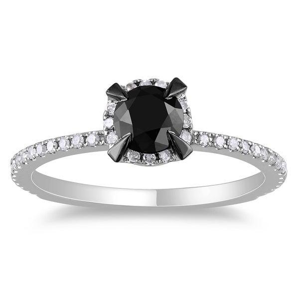 Miadora 10k White Gold 1ct TDW Round Black and White Diamond Ring (G-H, I2-I3)