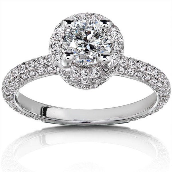 Annello 14k White Gold 1 1/2ct TDW Diamond Halo Engagement Ring (H-I, I1-I2)
