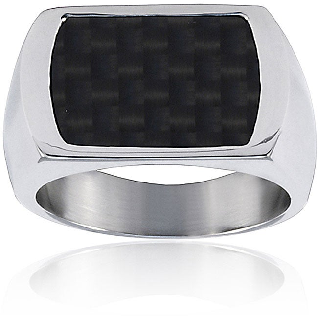 Stainless Steel Men's Carbon Fiber Inlay Signet Ring