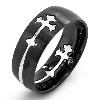 Crucible Two-tone Stainless Steel Cross Cutout Ring