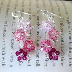 Sterling Silver Colorful Crystal Flower Earrings (USA)