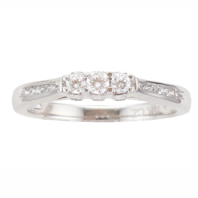 10k White Gold 1/4ct TDW Diamond 3-stone Ring (I-J, I2-I3)