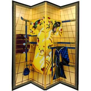 Silk and Wood Gold Leaf Kimono Room Divider (China)