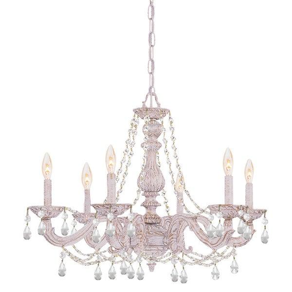 Sutton 6-light Antique White/ Crystal Chandelier