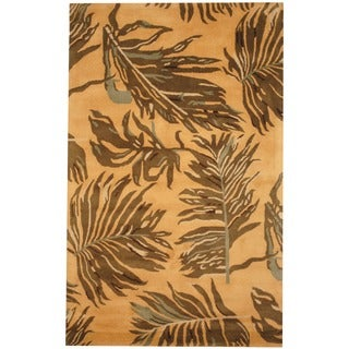 Indo Tibetan Hand-tufted Yellow / Brown Wool Rug (3'3 x 5'3)