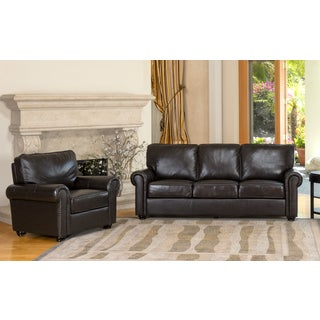 ABBYSON LIVING London Premium Top-grain Leather Sofa and Armchair
