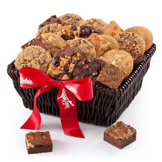 Mrs. Fields Fresh Baked 12 Cookies and Brownies Galore Basket with Bow