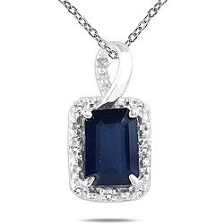 10k White Gold Sapphire and Diamond Accent Necklace