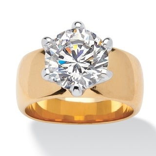 PalmBeach CZ Gold Overlay Cubic Zirconia Solitaire Ring Glam CZ