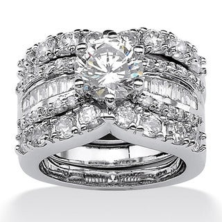 Palm Beach CZ Platinum over Silver Cubic Zirconia Wedding Ring Set