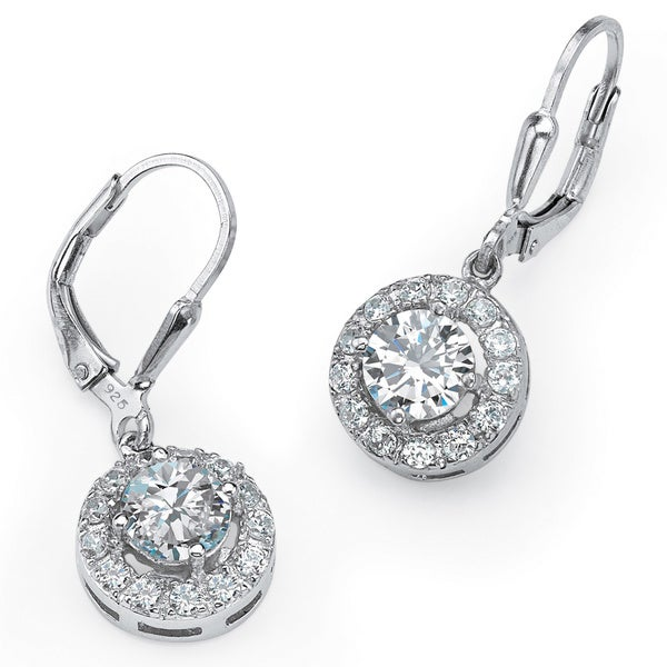 PalmBeach 2.35 TCW Round Cubic Zirconia Halo Drop Earrings in .925 Sterling Silver Classic CZ