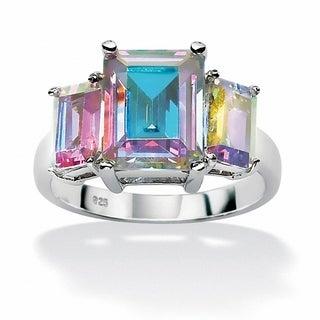 PalmBeach Sterling Silver Three-Stone Aurora Borealis Cubic Zirconia Ring Color Fun