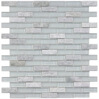 SomerTile 12x12-in Reflections Subway 5/8x2-in Ming Glass/Stone Mosaic Tile (Pack of 10)