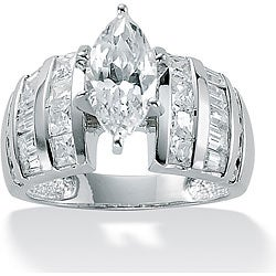 PalmBeach CZ Platinum over Sterling Silver Clear Cubic Zirconia Ring Glam CZ