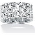 PalmBeach CZ White Gold-over-silver Cubic Zirconia Eternity Ring Glam CZ