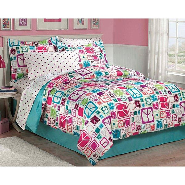 Peace Out 5-piece Twin-size Bed in a Bag with Sheet Set
