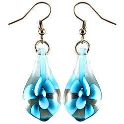 Murano Inspired Glass Sky Blue Flower Teardrop Earrings