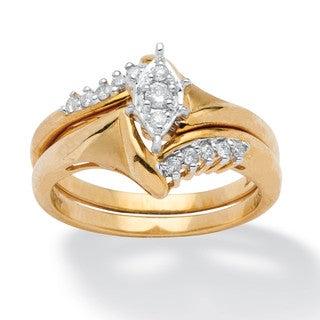 PalmBeach 1/5 TCW Round Diamond 10k Yellow Gold 2-Piece Bridal Engagement Wedding Ring Set