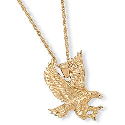 PalmBeach High-polish 14k Yellow Gold Overlay 24-inch Eagle Pendant Necklace Men's