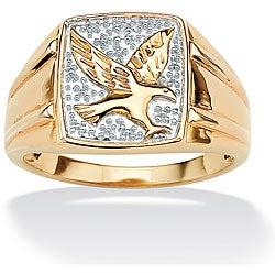 PalmBeach Gold over Silver Men's Diamond Accent Eagle Ring