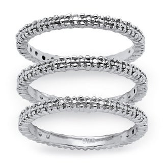 PalmBeach Platinum/Silver Diamond Accent 3-Piece Eternity Ring Set