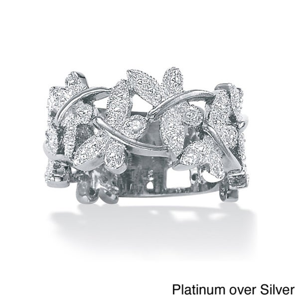 PalmBeach Silver Diamond Accent Butterfly Ring