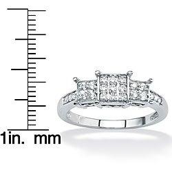 PalmBeach 1/5 TCW Round Diamond 10k White Gold Princess-Shaped Engagement Ring