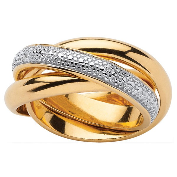 PalmBeach Diamond Accent 18k Gold over Sterling Silver Rolling Ring