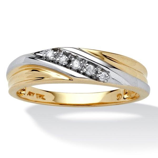 PalmBeach Men's 1/10 TCW Round Diamond 10k Yellow Gold Diagonal Wedding Band Ring