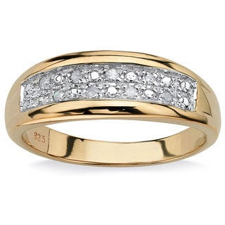 PalmBeach Men's 1/8 TCW Pave Diamond Wedding Band in 18k Gold over Sterling Silver