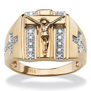 PalmBeach Gold over Silver Men's 1/10ct TDW Diamond Crucifix Ring (H-I, I2-I3)
