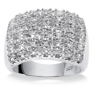 PalmBeach 1/5 TCW Round Diamond Row Ring in Platinum over Sterling Silver