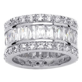 PalmBeach CZ Platinum  over Sterling Silver Cubic Zirconia Eternity Ring Glam CZ