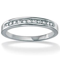 PalmBeach 10k White Gold 1/10ct TDW Diamond Ring (G-H, I2-I3)