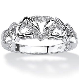 PalmBeach Platinum over Silver Diamond Accent Heart Ring
