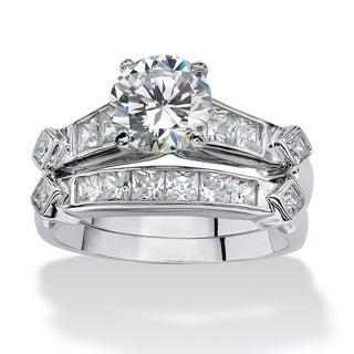 PalmBeach CZ Platinum over Silver 2-piece Cubic Zirconia Wedding Ring Set Classic CZ