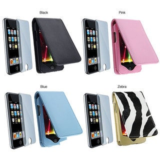 INSTEN Pink Leather iPod Case Cover and LCD Screen Protector Kit for iPod Touch