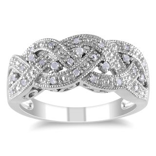 Haylee Jewels Sterling Silver 1/8ct TDW Diamond Ring (H-I, I2-I3)
