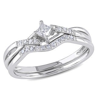 Miadora 1/5 CT Princess and Round Diamonds TW Bridal Set Ring 10k White Gold GH I2;I3