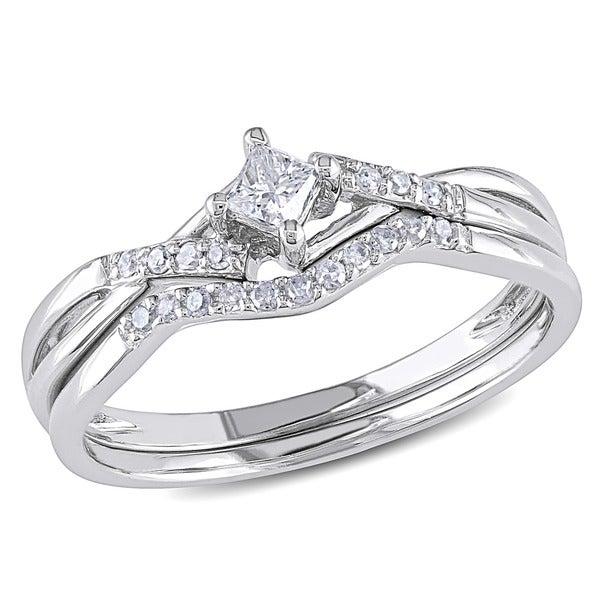 1/5 CT Princess and Round Diamonds TW Bridal Set Ring 10k White Gold GH I2;I3
