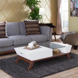Furniture of America Kress Glass Insert Coffee Table