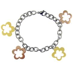 Stainless Steel Two-tone Cut-out Flower Charm Bracelet