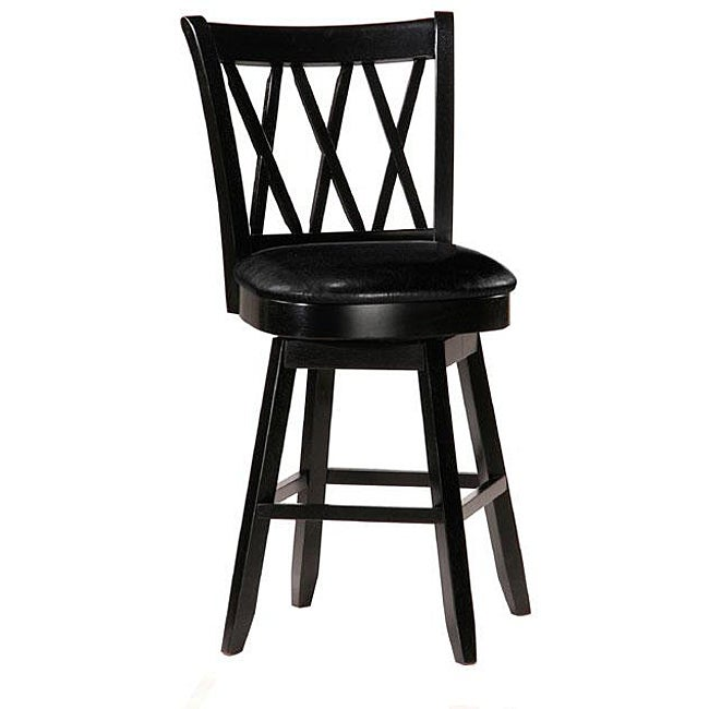 Counter Stools Overstock: Jasna Wood Black Leather Counter-height Stool