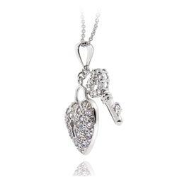 Icz Stonez Sterling Silver Cubic Zirconia Heart Key Necklace