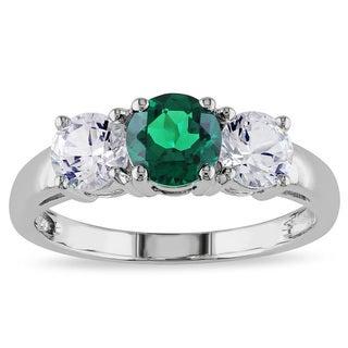 Miadora 10k White Gold Created Emerald and White Sapphire 3-stone Ring