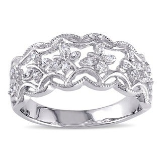 Haylee Jewels Sterling Silver 1/10ct TDW Diamond Ring (G-H, I2-I3)