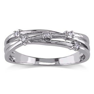Haylee Jewels Sterling Silver Diamond Criss Cross Fashion Ring