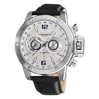 Akribos XXIV Men's Multifunction Stainless Steel Swiss Quartz Strap Watch